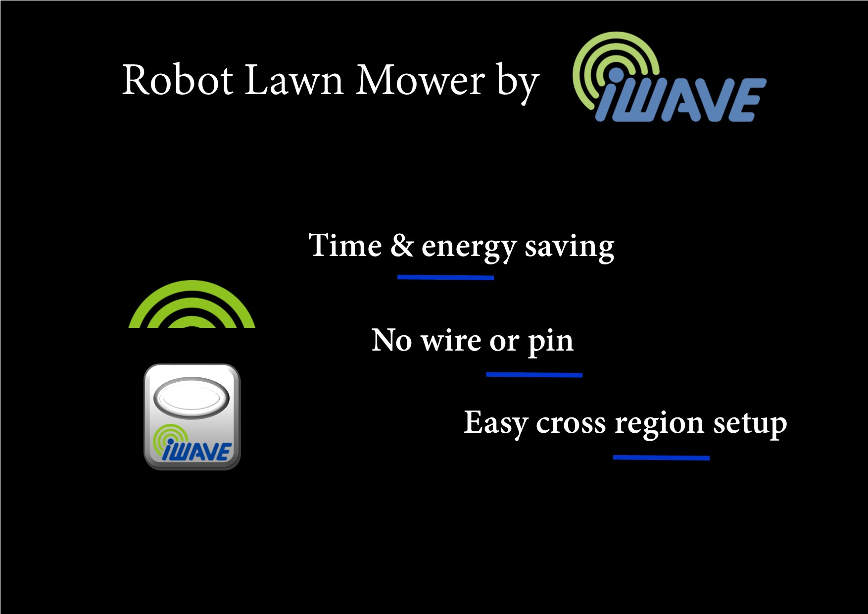 poster with a lawnmower robot and iwavenology logo